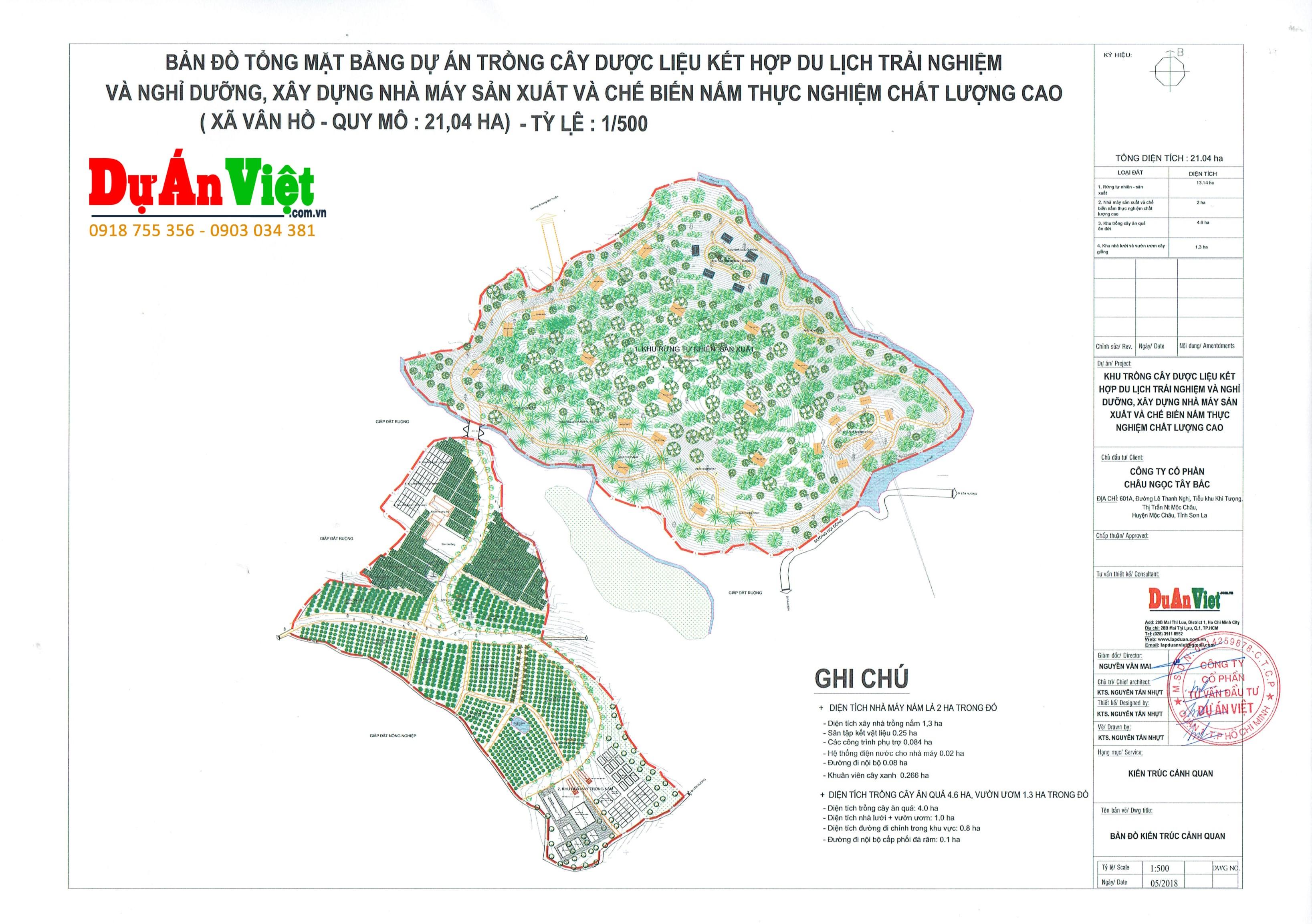 Thiết kế quy hoạch: Tổng thể mặt bằng Dự án trồng cây dược liệu kết hợp Du lịch tỉnh Sơn La