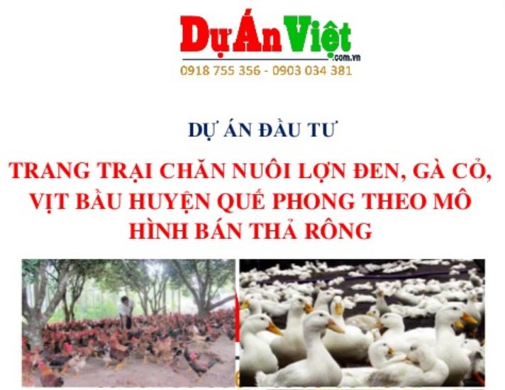Thuyết minh Dự án Trang trại Chăn nuôi Lợn đen - Gà Cỏ - Vịt bầu theo mô hình bán thả rong Huyện Quế Phong tỉnh Nghệ An