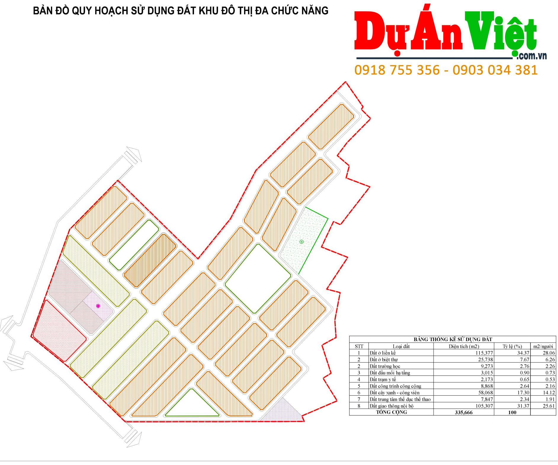 Thiết kế quy hoạch: Bản đồ Quy hoạch Sử dụng đất Khu đô thị đa chức năng