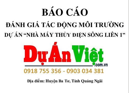 """Báo cáo ĐTM Cấp Bộ Dự án """"Nhà máy Thủy Điện Sông Liên 1"""" Quảng Ngãi"""