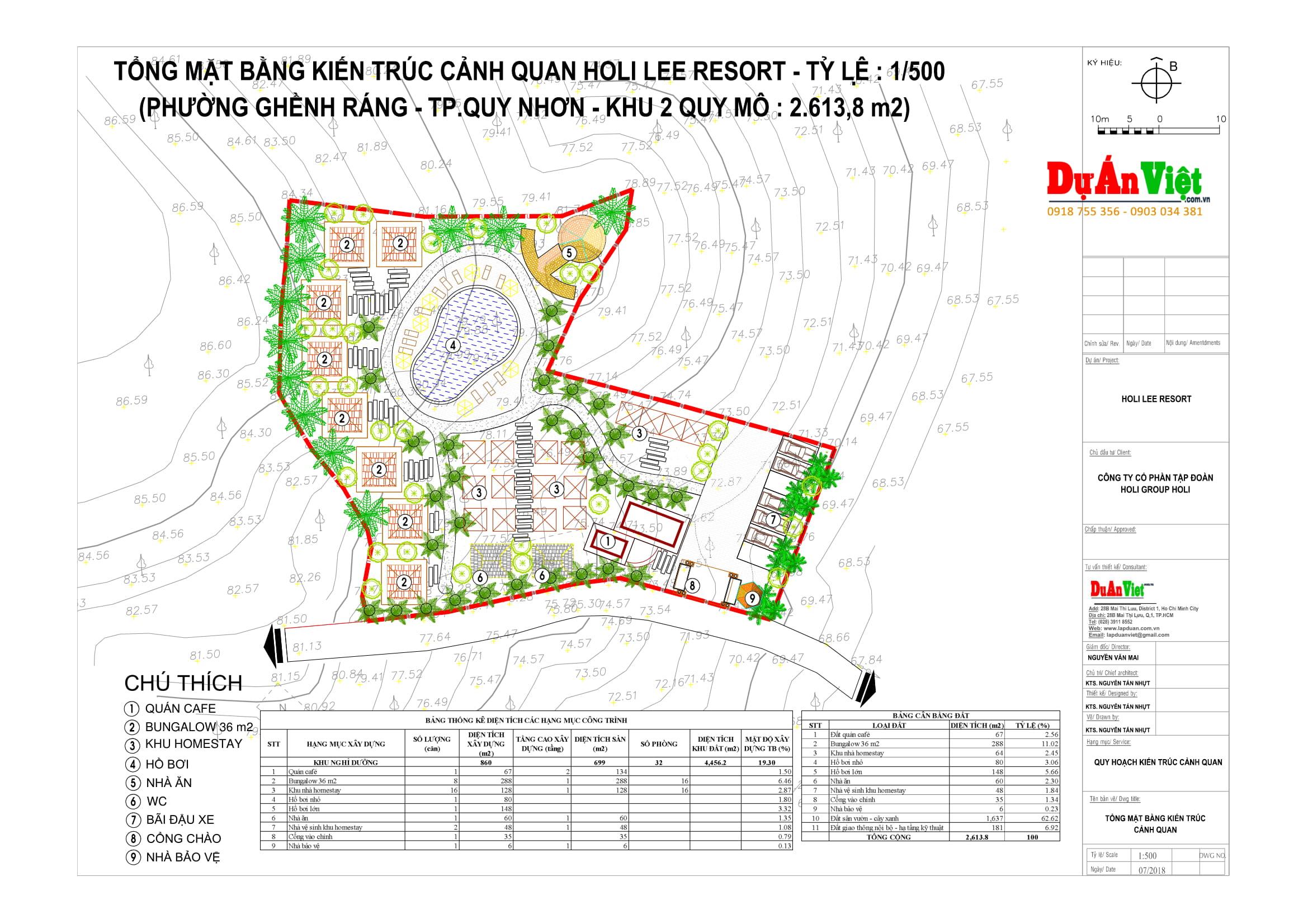 Thiết kế quy hoạch: Tổng mặt bằng kiến trúc cảnh quan Holi Lee Resort - TP Quy Nhơn
